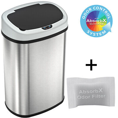13 Gallon Automatic Touch-free Sensor Stainless Steel Trash Can Kitchen 50R