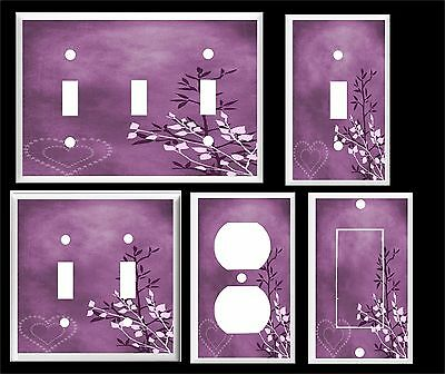 Purple Heart And Leaves Contemporary Decor Light Switch Cover Plate