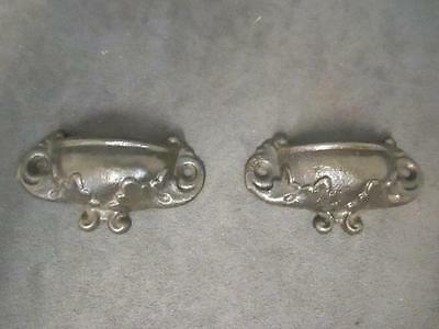 2 Victorian Cast Iron Eastlake Drawer Pull Handles - Small Curved Leaf    ks3