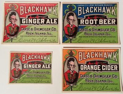 Original Blackhawk Soda Labels 4 Different Carse & Ohlweiler Co. Rock Island, Il