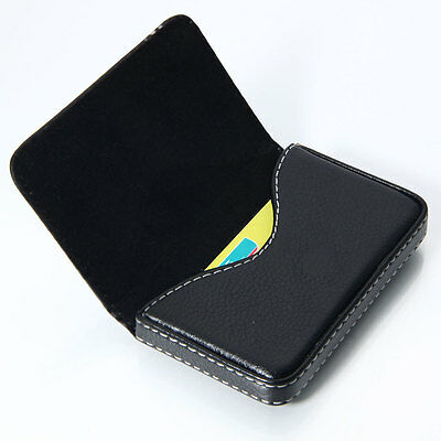 Korean Style Pocket PU Leather Business ID Credit Card Holder Case Wallet Black