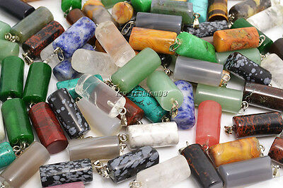 Wholesale Lot 25pcs Natural Gemstone square Silver Plated Beads Pendant FREE