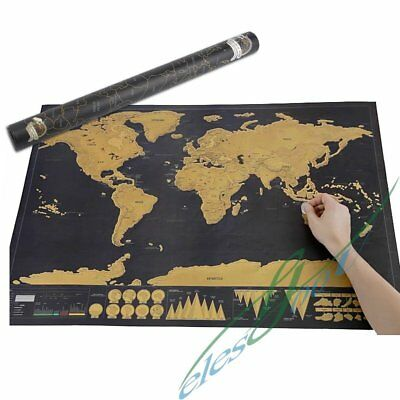 Deluxe Travel Edition Scratch Off World Map Poster Personalized Journal Log XMAS