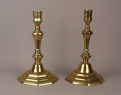 A Matched Pair of 18th Century French Brass Candlesticks.