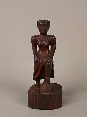 An Unusual Antique Cuban Carved Wood Female Figure.