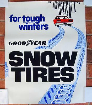 Goodyear Snow Tires Shop Poster Ad 1970's  Clean Not displayed Great graphics