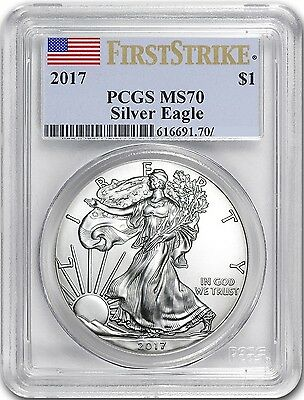 2017 American Silver Eagle $1 Dollar First Strike Coin. Pcgs: Ms70. Cert: Varies