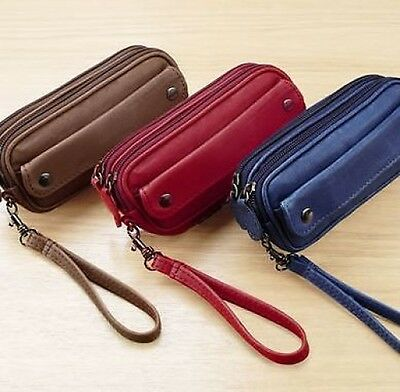 Glasses Spectacles Specs Leather Case Holder Navy Red Tan Zip Purse Wallet Money