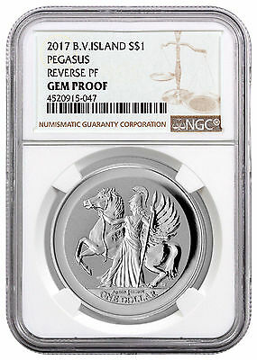 2017 Virgin Islands $1 1 oz. Reverse Proof Silver Pegasus NGC Gem Proof SKU45150