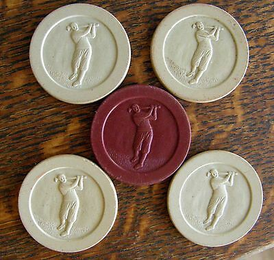 5 1930's Clay Poker Chips Golfer 4 White One Red Nice Must See-Um