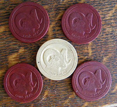 5 1930's Clay Poker Chips Rams Head 4 Red One White Nice Must See-Um