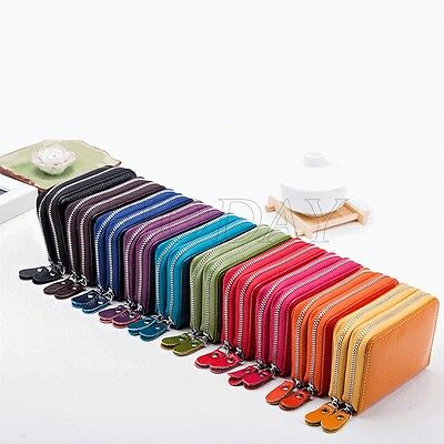 Genuine Real Leather RFID Blocking Credit ID Card Holder Pocket Wallet Zip Coin