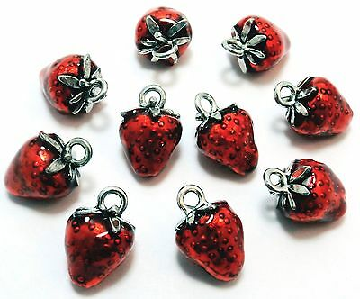 Ten (10) Pewter Hand Painted Red Enameled Strawberry Charms - 0831