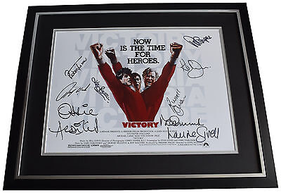 Escape to Victory SIGNED Framed Photo Autograph x9 Huge display Football COA