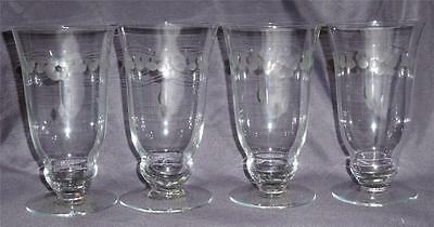 4 LIBBEY ROCK SHARPE Floral & Dots Cut 3005 Iced Tea Water Goblets Glasses