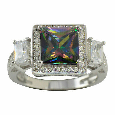 Sterling Silver Princess Cut Rainbow CZ Band 925 Womens Ring