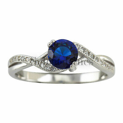 Sterling Silver Round Navy Blue CZ Band 925 Womens Ring