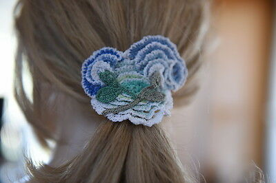 Lim's Adorable Hand Made Crochet Hair Tie Bands Or Elastic Bracelet Blue Tone Mi