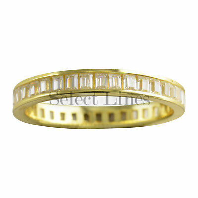 Sterling Silver Gold Plated Baguette CZ Band 925 Womens Ring