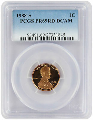 1988-S Lincoln Cent PR69RD DCAM PCGS Proof 69 Red Deep Cameo