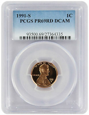 1991-S Lincoln Cent PR69RD DCAM PCGS Proof 69 Red Deep Cameo