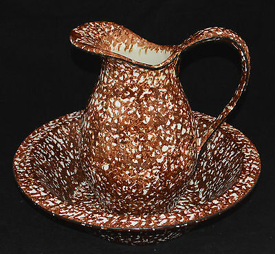 Stangl Pottery Large Pitcher & Bowl Town & Country Brown