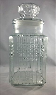 "VINTAGE KOEZE'S  Glass Apothecary Jar With Lid , 1984, LARGE 10"" TALL, CLEAR"
