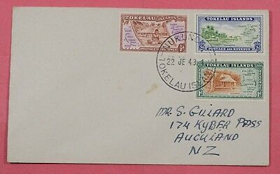 1948 Fdc Tokelau Islands # 1-3 Nukuno Cancel To Nz