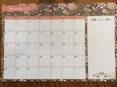 """Current 2017-2018 2-Year Floral Desk Pad Monthly Calendar 24 Sheets 16x11"""" NEW"""