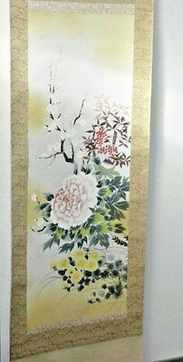 Vintage Hand Painted Signed Japanese Hanging Wall Scroll Kakejiku 72x21 Flowers