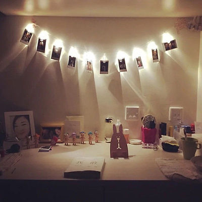 10 LED 1.2M Hanging Card Picture Clips Photo Pegs String Light Lamp Indoor Decor