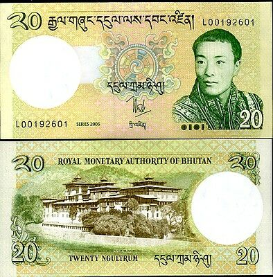 Bhutan 20 Ngultrum 2006 P 30 Aunc Lot 10 Pcs