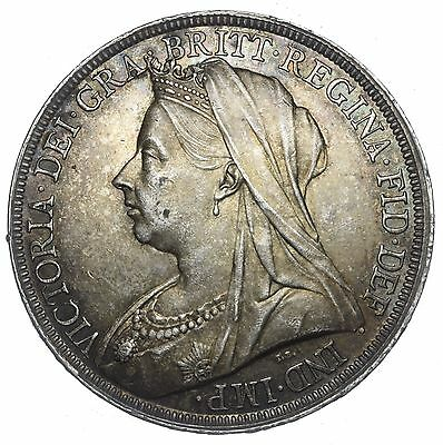 1897 Lxi Crown - Victoria British Silver Coin - V Nice