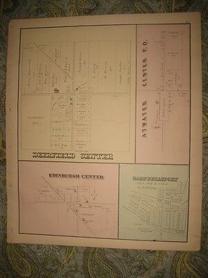 Antique 1874 Deerfield Palmyra Freedom Suffield Nelson Portage County Ohio Map