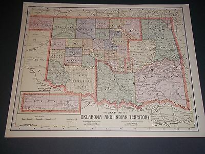 1890 INDIAN TERRITORY OKLAHOMA Antique color state map original authentic
