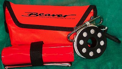 Beaver SCUBA reel & dSMB very compact set fits with line into SMB pouch & clips