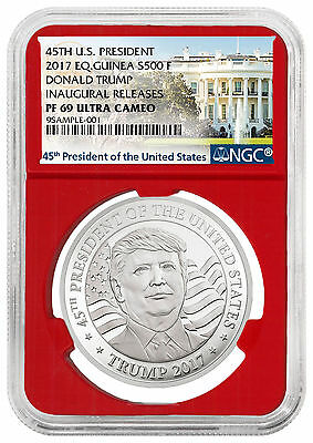 2017 Eq. Guinea Donald Trump 10g Silver NGC PF69 UC Inaugural (Red) SKU45963