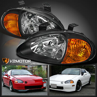 Fit 1993-1997 Honda Del Sol 2-In-1 JDM Black Headlights Corner Signal Lights