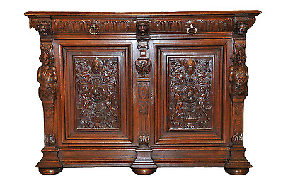 Antique French Renaissance Cabinet/Sideboard anOak Beauty w/Large Carved Statues