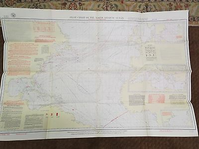 Wwii 1942 Pilot Chart Of The North Atlantic Ocean-Excellent Condition