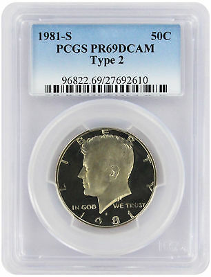 1981-S Type 2 Kennedy Half PR69DCAM PCGS Proof 69 Deep Cameo Clear 'S'