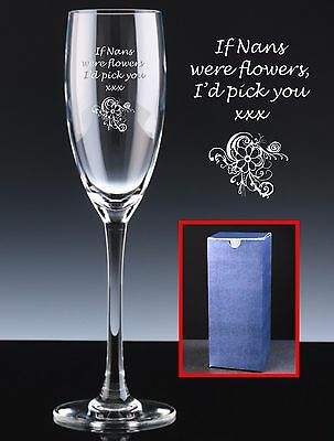 Personalised Champagne or Prosecco Glass, Mother's Day, If Nans Were Flowers