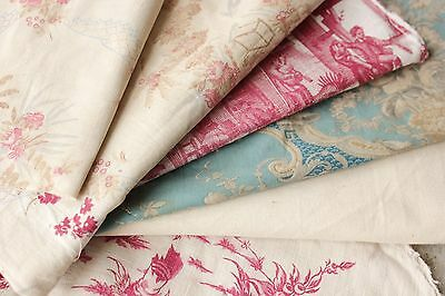 Antique French fabric vintage material PROJECT BUNDLE blue pink