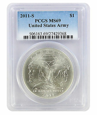 2011-S US U.S. Army Silver Commemorative Dollar MS69 PCGS Mint State 69
