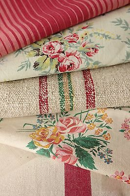 Antique French fabric vintage material PROJECT BUNDLE floral red