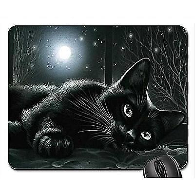 Schoolsupplies Black cat in moonlight Mouse Pad, Mousepad (Cats Mouse Pad) New