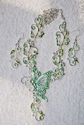 jewelry set green crystal butterfly necklace earrings Silver tone set