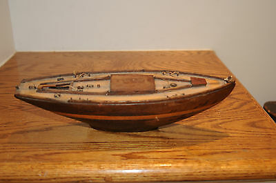 "Vintage Wood Wooden Model Sailboat Pond Boat Yacht Ship 12.5"" Hull Heavy Model.."