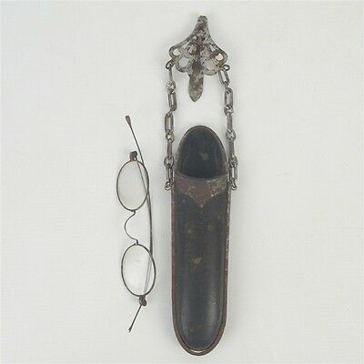Nice Antique Victorian Metal & Leather Chatelaine Eyeglass Case w/ Eyeglasses