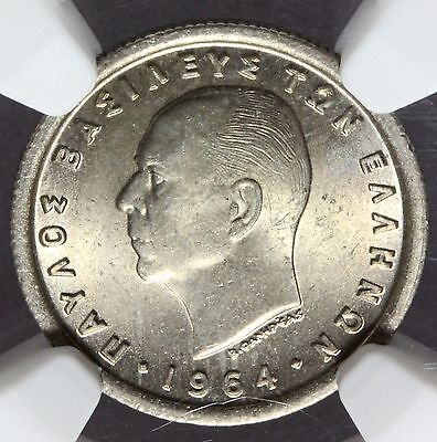 1964 Greece 50 Lepta Coin - NGC MS 65 Graded - KM# 80